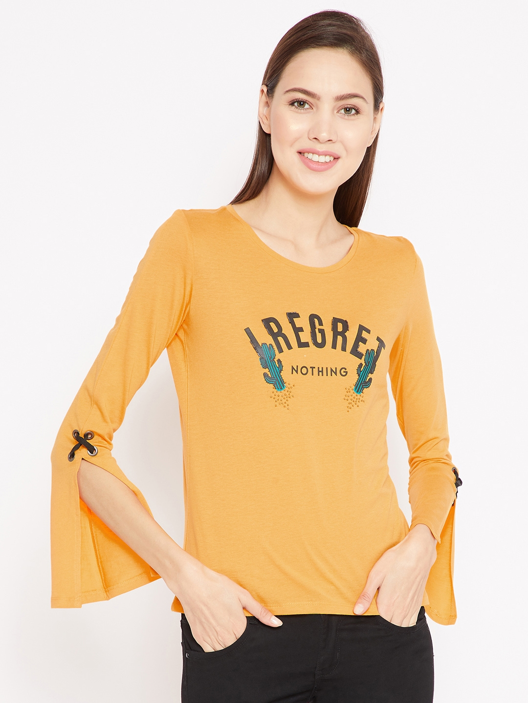 023290c92609e Buy Madame Women Mustard Yellow Printed Top - Tops for Women 7272595 ...