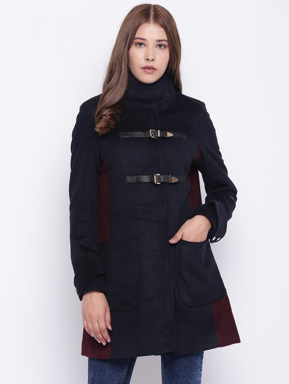 e9e0663815e13 Buy Madame Women Navy Blue Solid Knee Length Duffle Coat - Coats for ...