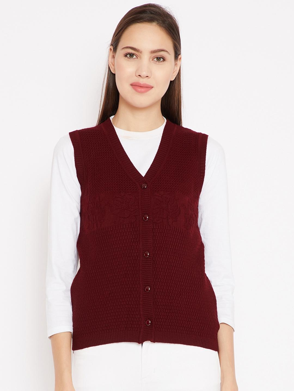 043c64b8d7ce Buy Madame Women Maroon Sleeveless Self Design Cardigan - Sweaters ...