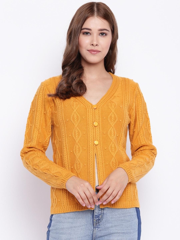 Buy Madame Women Mustard Yellow Self Design Cardigan Sweaters For
