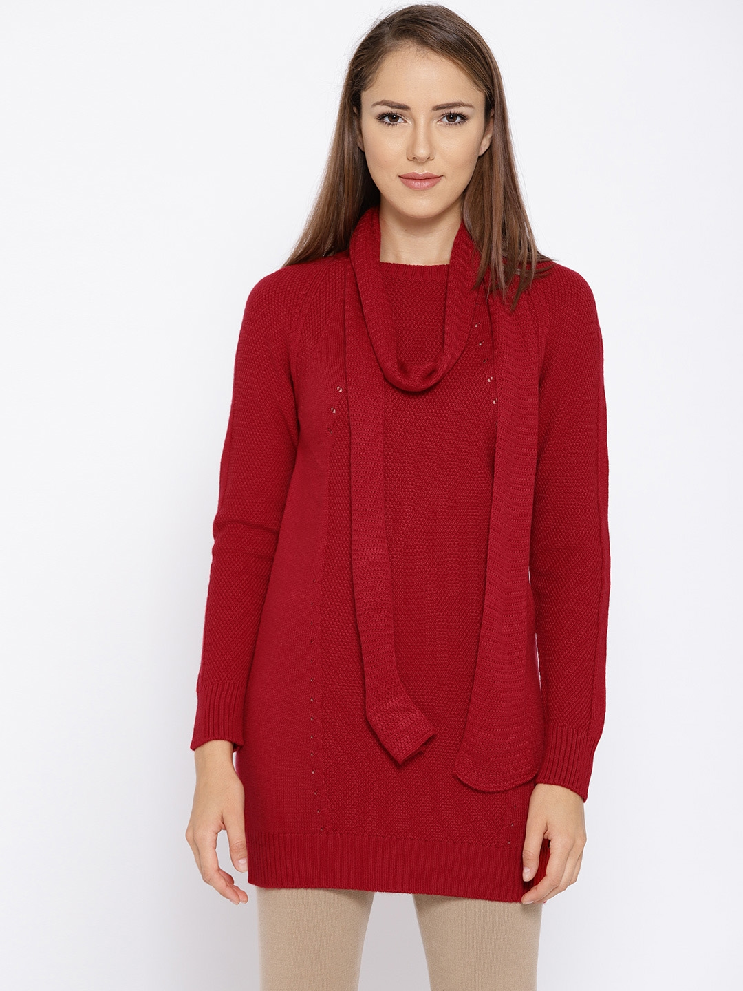 f1d72deaffa Buy Madame Women Red Solid Longline Sweater With Stole - Sweaters ...