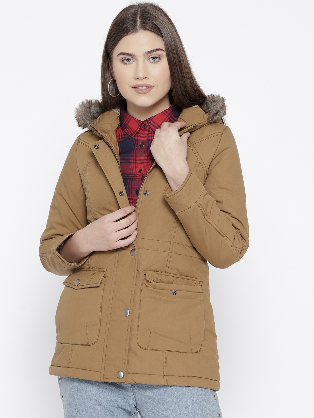 d4afed2c957 Buy Trufit Women Khaki Solid Parka Jacket With Detachable Hood ...