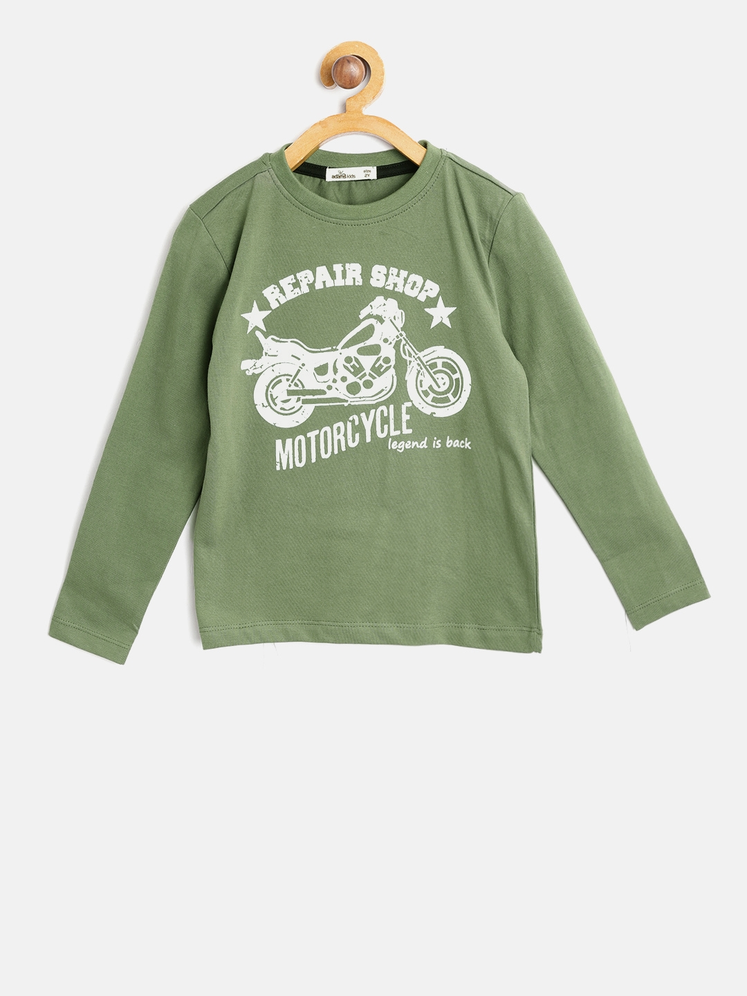 8144604e9 Buy Adams Kids Boys Olive Green Printed Round Neck T Shirt - Tshirts ...