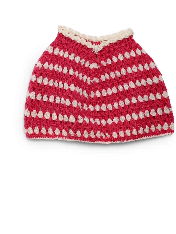 5eeef93c75a3 Buy CHUTPUT Girls Pink   White Woolen Self Design Poncho - Sweaters ...