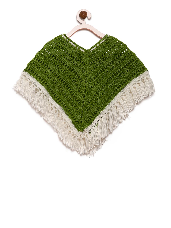 6acc2b3afe6c Buy CHUTPUT Girls Green   White Woolen Self Design Poncho - Sweaters ...