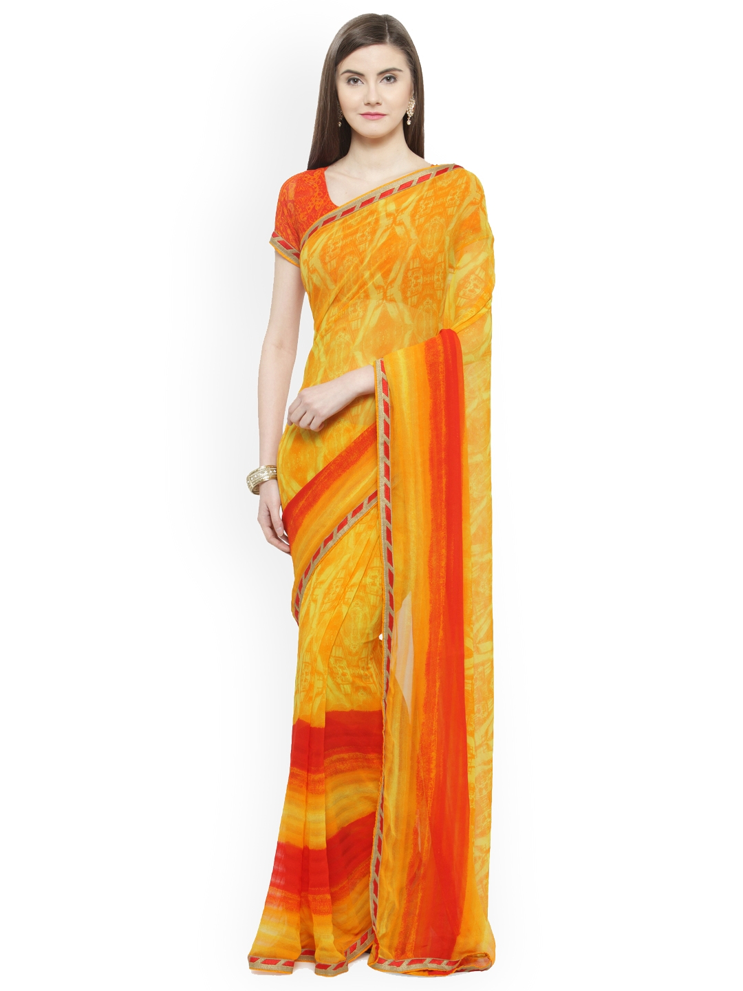 be611b6a3 Buy Shaily Yellow Printed Satin Saree - Sarees for Women 7274908 ...