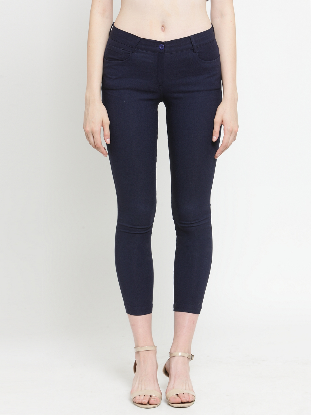 pretty cheap new style of 2019 world-wide selection of Purplicious Women Navy Blue Solid Three-Fourth Length Jeggings