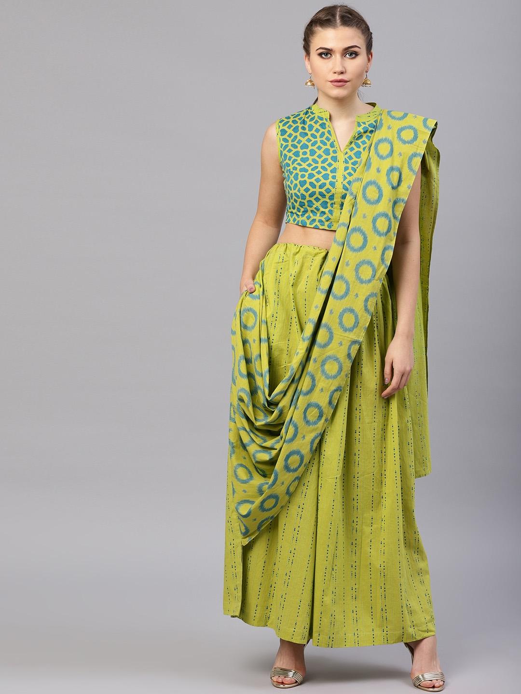 e808f463f Buy AKS Green   Blue Pure Cotton Kantha Print Palazzo Saree - Sarees ...