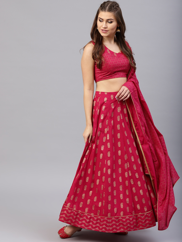 538380aed0 Buy AKS Magenta & Golden Ready To Wear Khari Print Lehenga With ...
