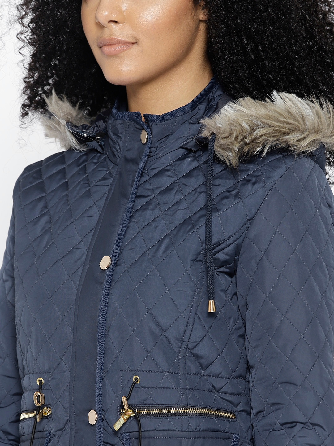 415fd7ca130a Buy Fort Collins Women Navy Blue Solid Longline Parka Jacket With ...