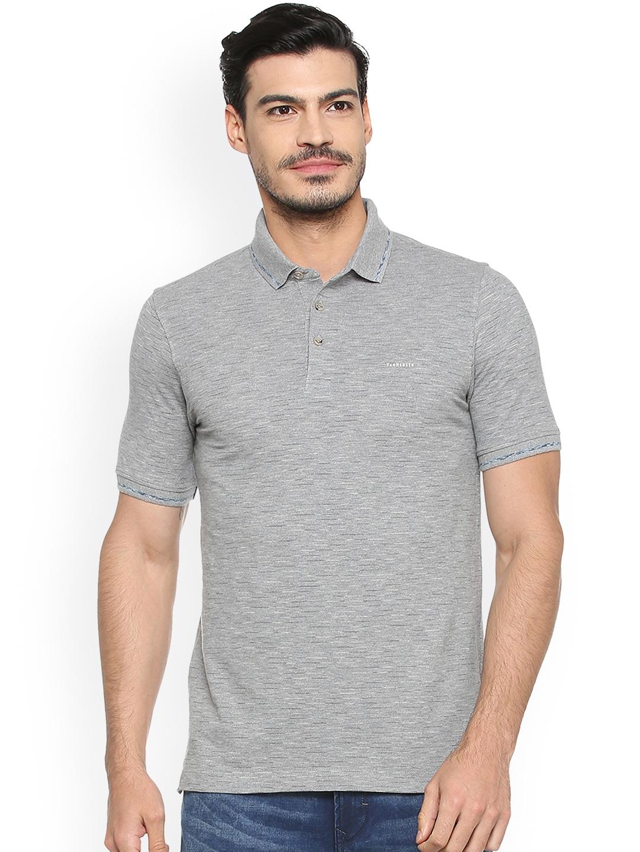 b73aa34570b56 Buy Van Heusen Men Grey Solid Polo Collar T Shirt - Tshirts for Men ...