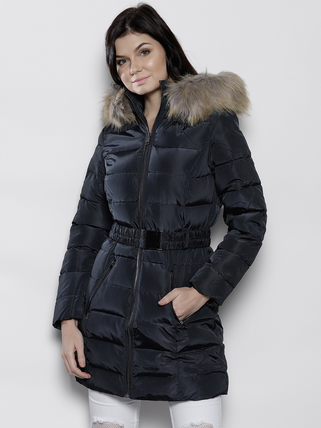 18b15bcb99d1 Buy DOROTHY PERKINS Women Navy Blue Solid Longline Parka Jacket ...