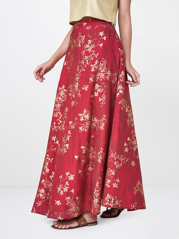 f3d694f66c Buy Global Desi Women Red Foil Printed A Line Maxi Skirt - Skirts ...