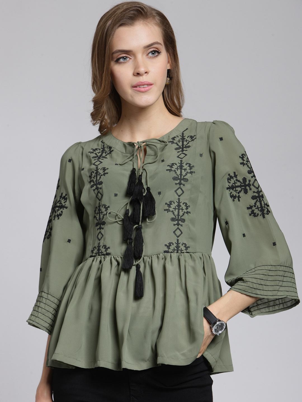 68b19a615217 Buy PlusS Women Olive Green Self Design Peplum Top - Tops for Women ...