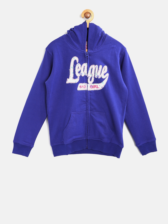 6fcb2f2af78c Buy 612 League Girls Blue Printed Hooded Sweatshirt - Sweatshirts ...