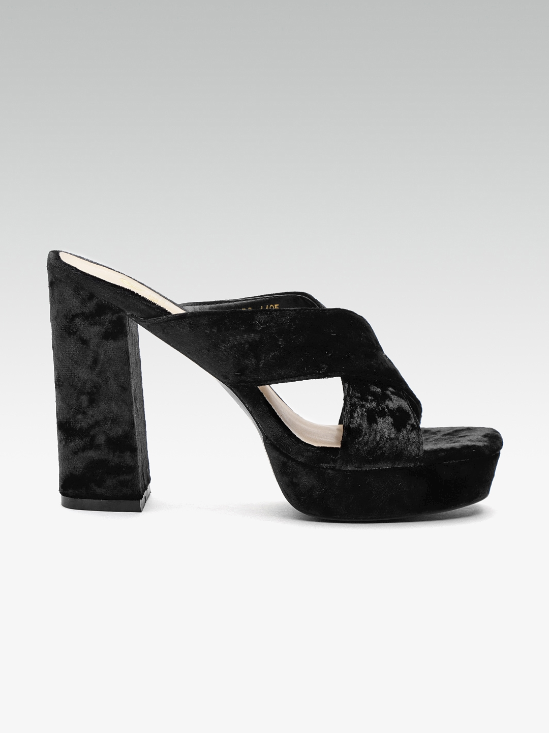 7c01640bd8bb Buy Carlton London Women Black Velvet Solid Platform Heels - Heels ...