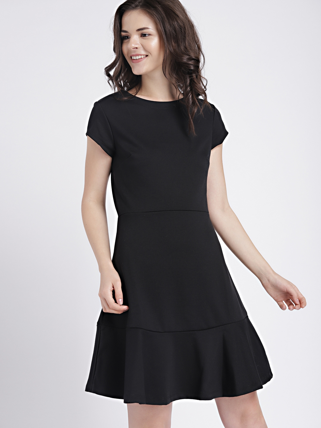 2facccb9d74 Buy GAP Women's Black Short Sleeve Fit And Flare Peplum Dress In ...
