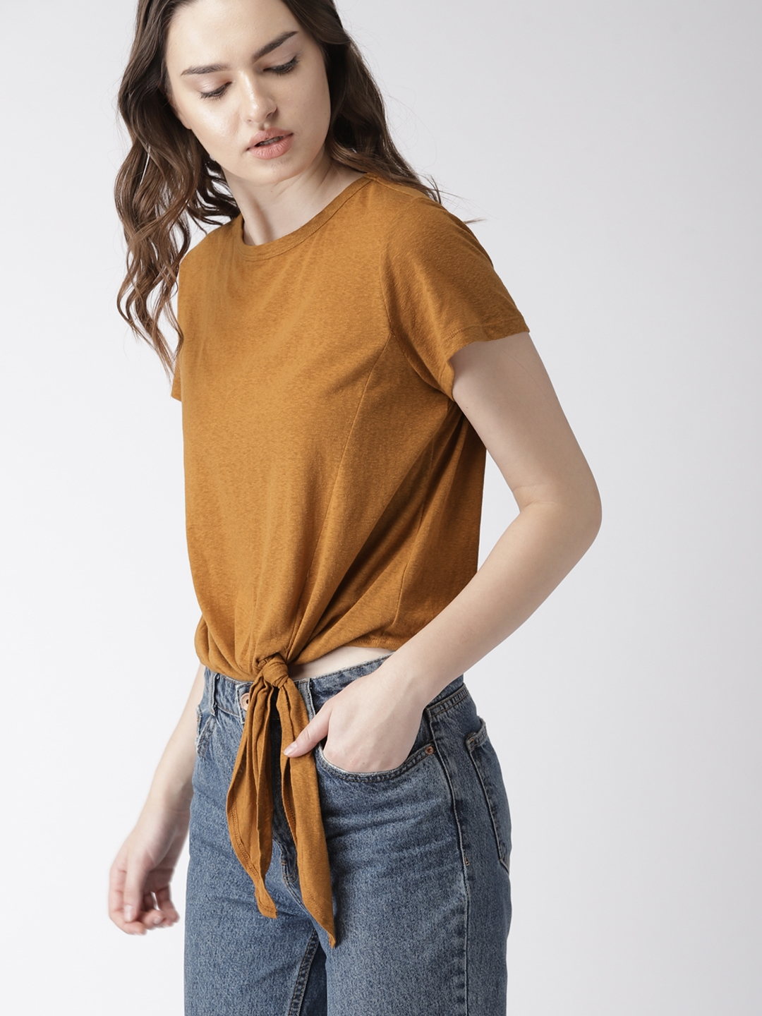 1857c7cbe64a0c Buy FOREVER 21 Women Mustard Brown Solid Top - Tops for Women ...