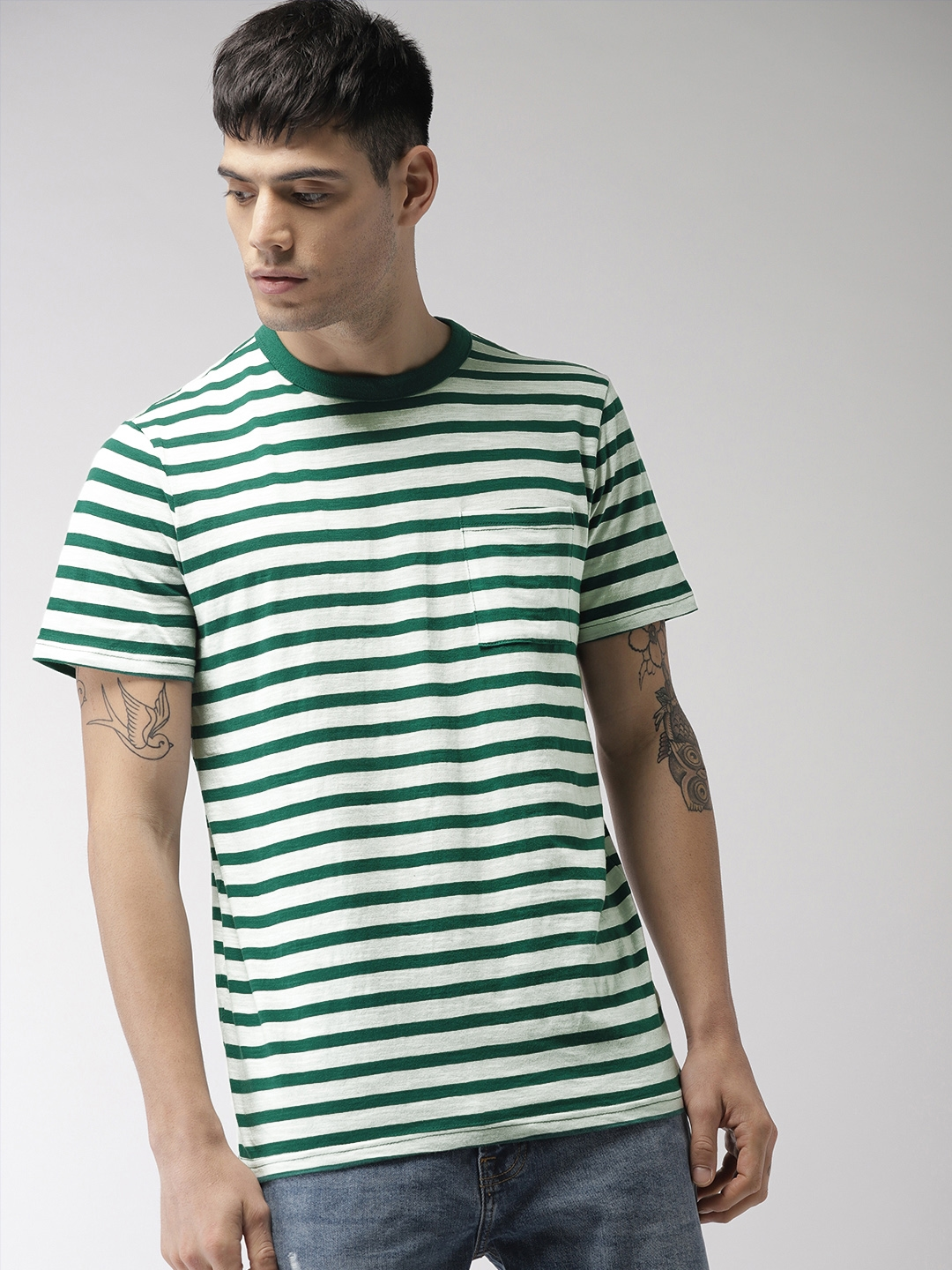 Buy Forever 21 Men White Green Striped Round Neck T Shirt
