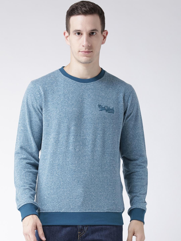Club York Men Blue   White Self Design Sweatshirt