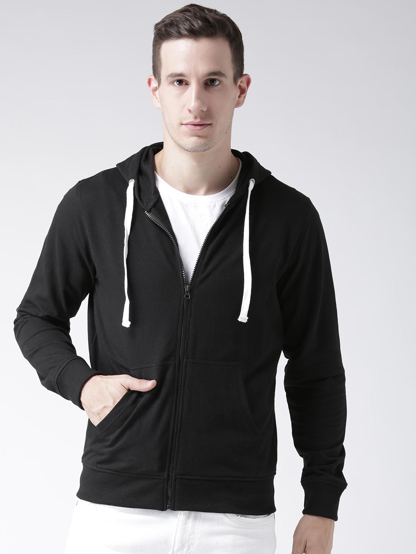 Club York Men Black Solid Hooded Sweatshirt