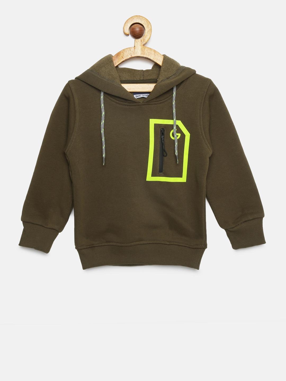 201b9ab2 Buy Little Kangaroos Boys Olive Brown Solid Hooded Sweatshirt ...