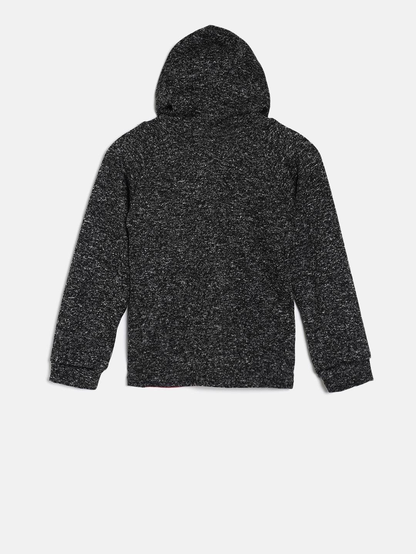 acb7a053e307 Buy Little Kangaroos Boys Black Self Design Hooded Sweatshirt ...