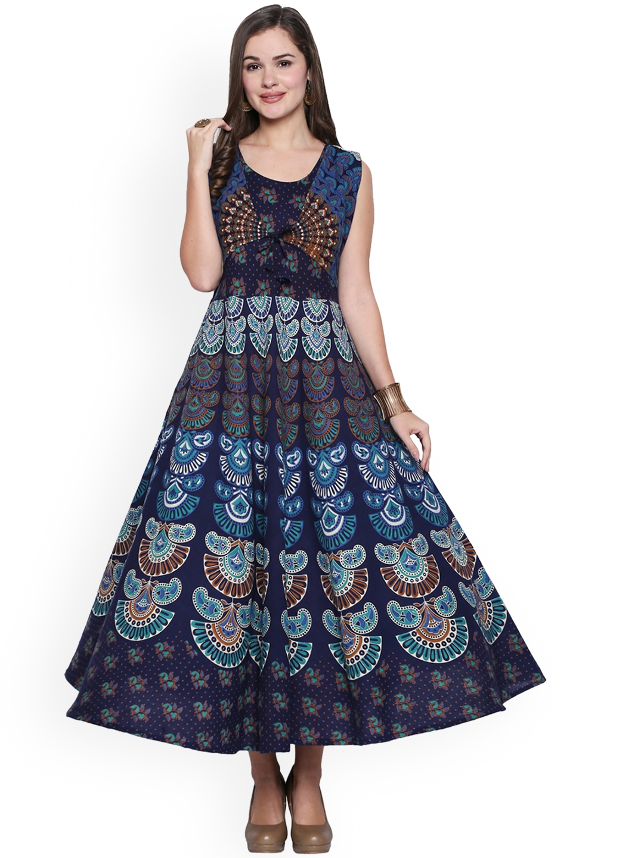 02b417dbbea9ec Buy Ishin Women Navy Blue Printed Maxi Dress - Dresses for Women ...