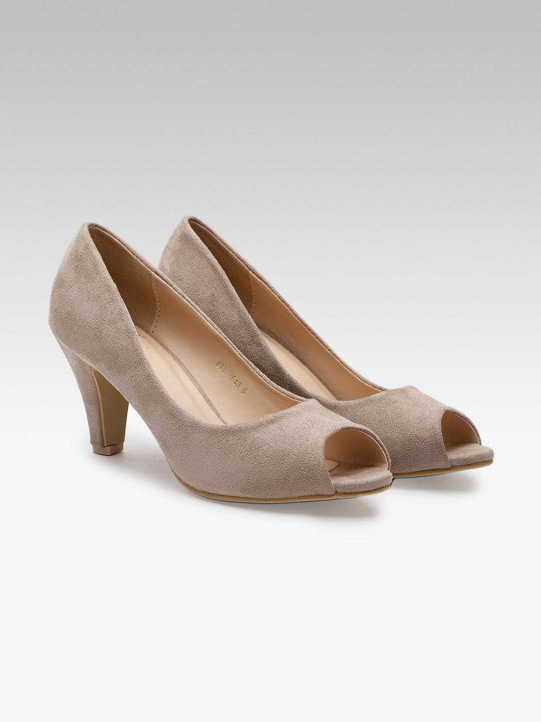 801772ce4b Buy Carlton London Women Taupe Solid Peep Toes - Heels for Women ...