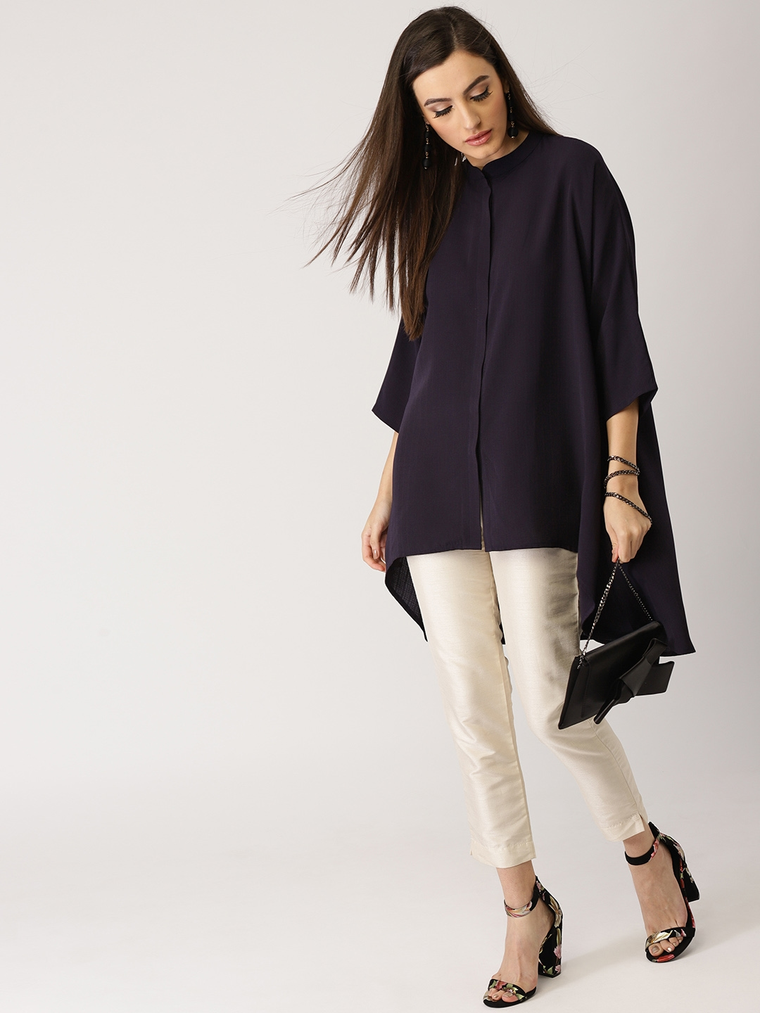 Libas Navy Blue Solid High Low Tunic
