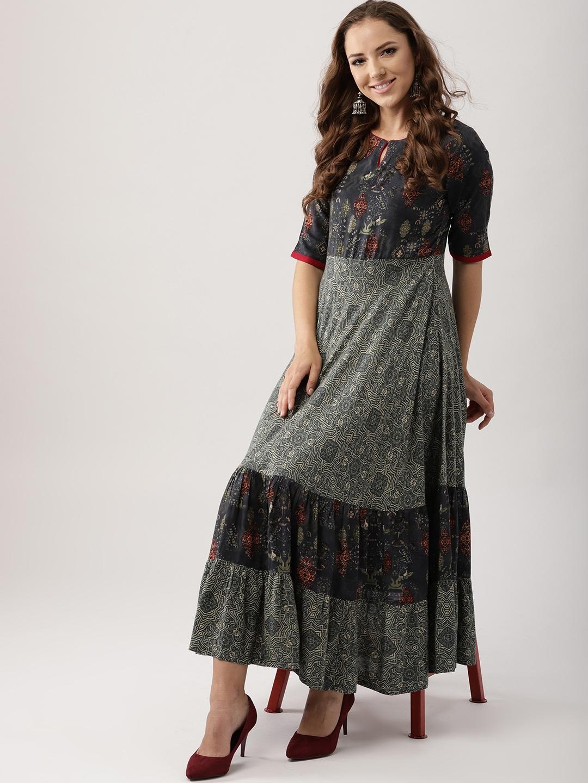 0b079bdbbb4 Buy Libas Women Grey Printed Maxi Dress - Dresses for Women 7320129 ...