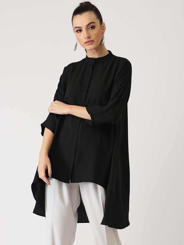 Libas Women Black Solid High Low Tunic Libas Tunics