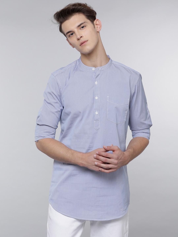 LOCOMOTIVE Men Blue Regular Fit Solid Casual Shirt