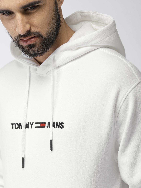 cc5115c7 Buy Tommy Hilfiger Men White Solid Hooded Sweatshirt - Sweatshirts ...