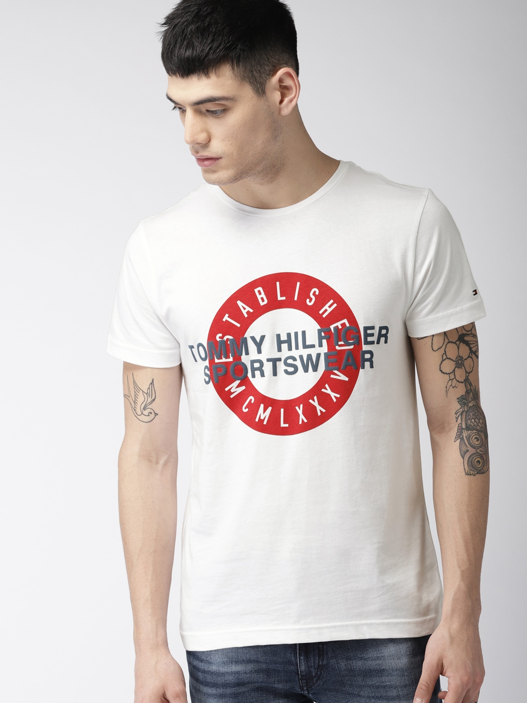 d81c01249 Buy Tommy Hilfiger Men White Printed Round Neck T Shirt - Tshirts ...