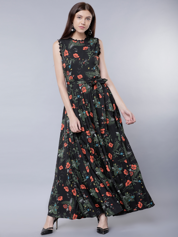342c75d87f9 Buy Tokyo Talkies Women Black Printed Maxi Dress - Dresses for Women ...