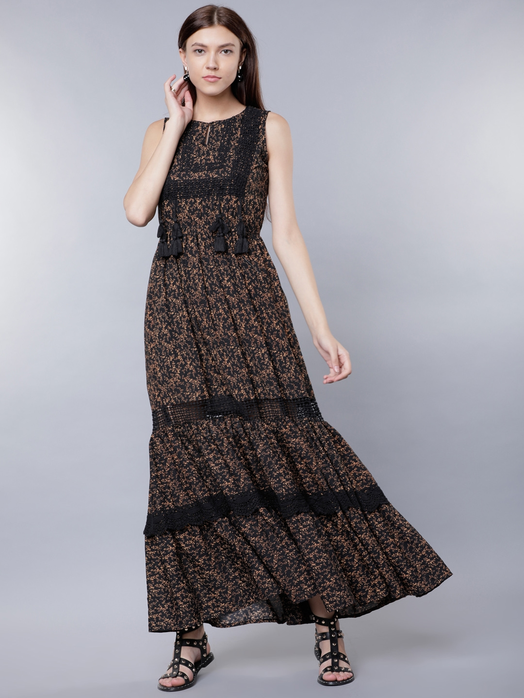 313c00949 Buy Tokyo Talkies Women Black Printed Maxi Dress - Dresses for Women ...