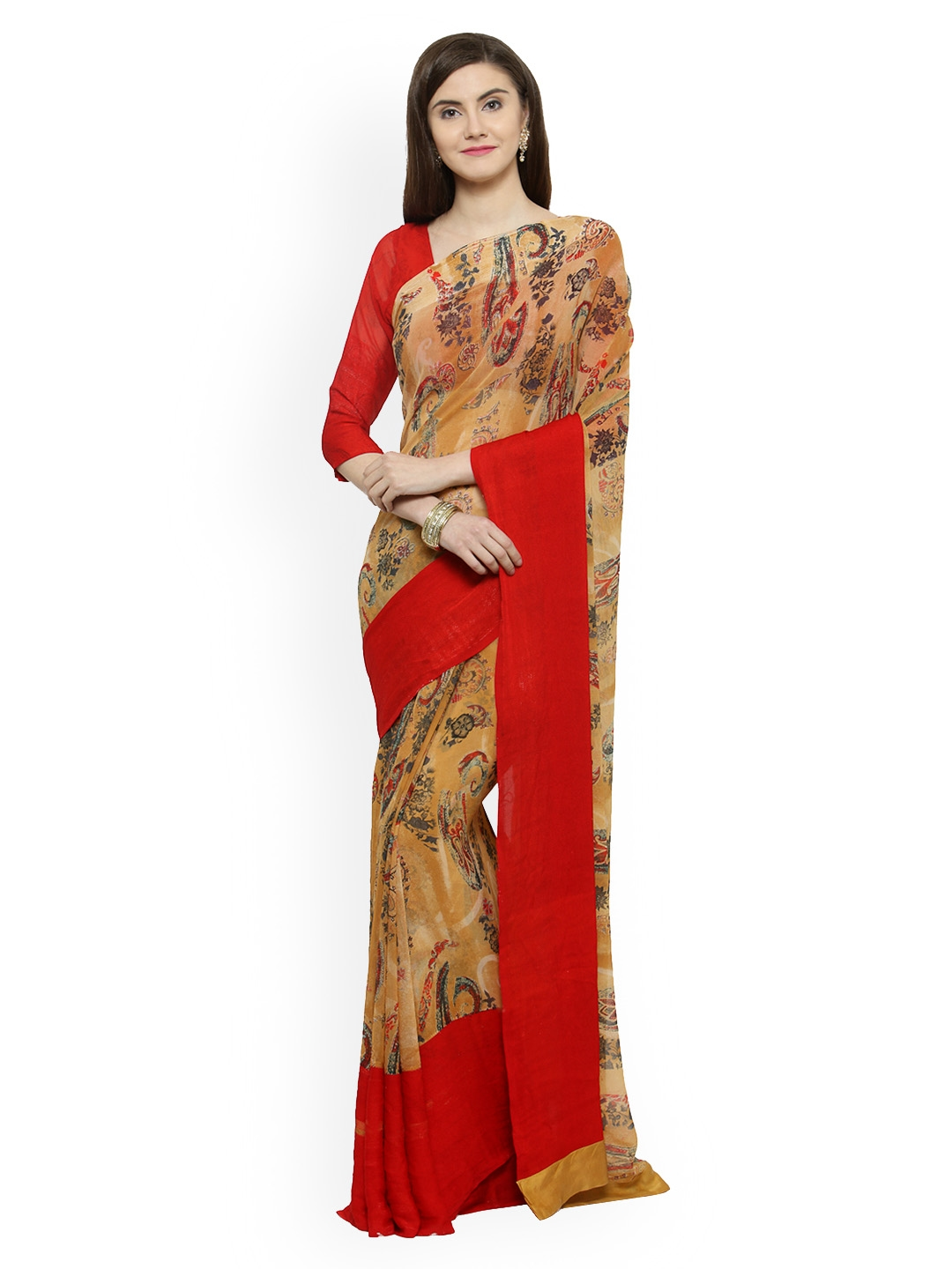 4ed23adde Buy Shaily Brown Printed Satin Saree - Sarees for Women 7326211