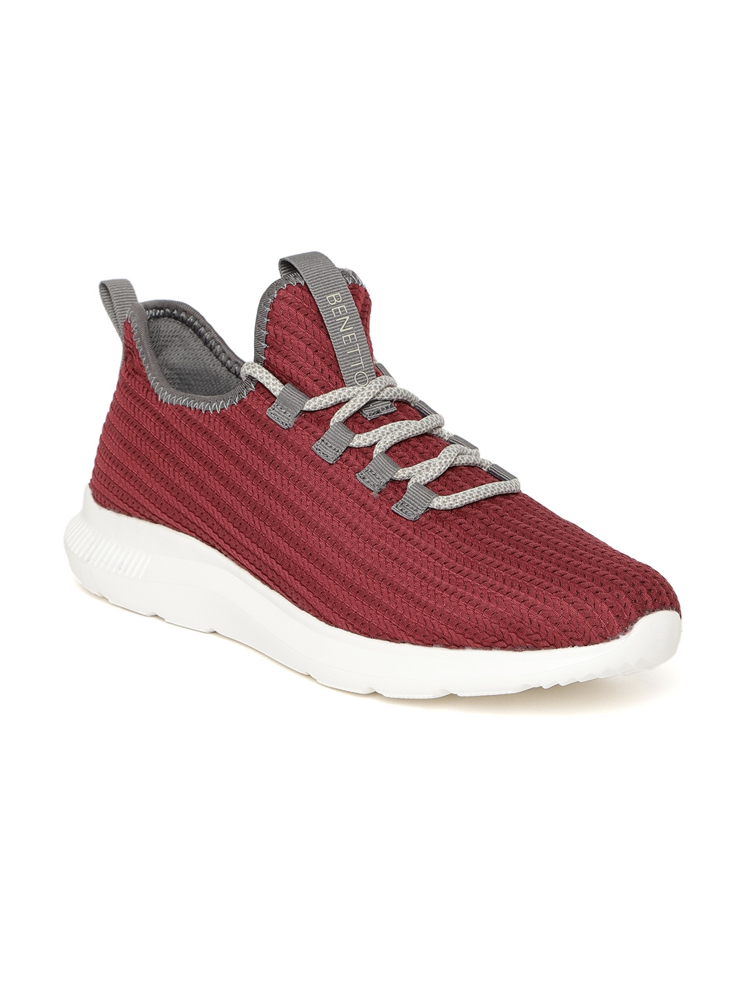 Buy United Colors Of Benetton Men Maroon Woven Design Sneakers