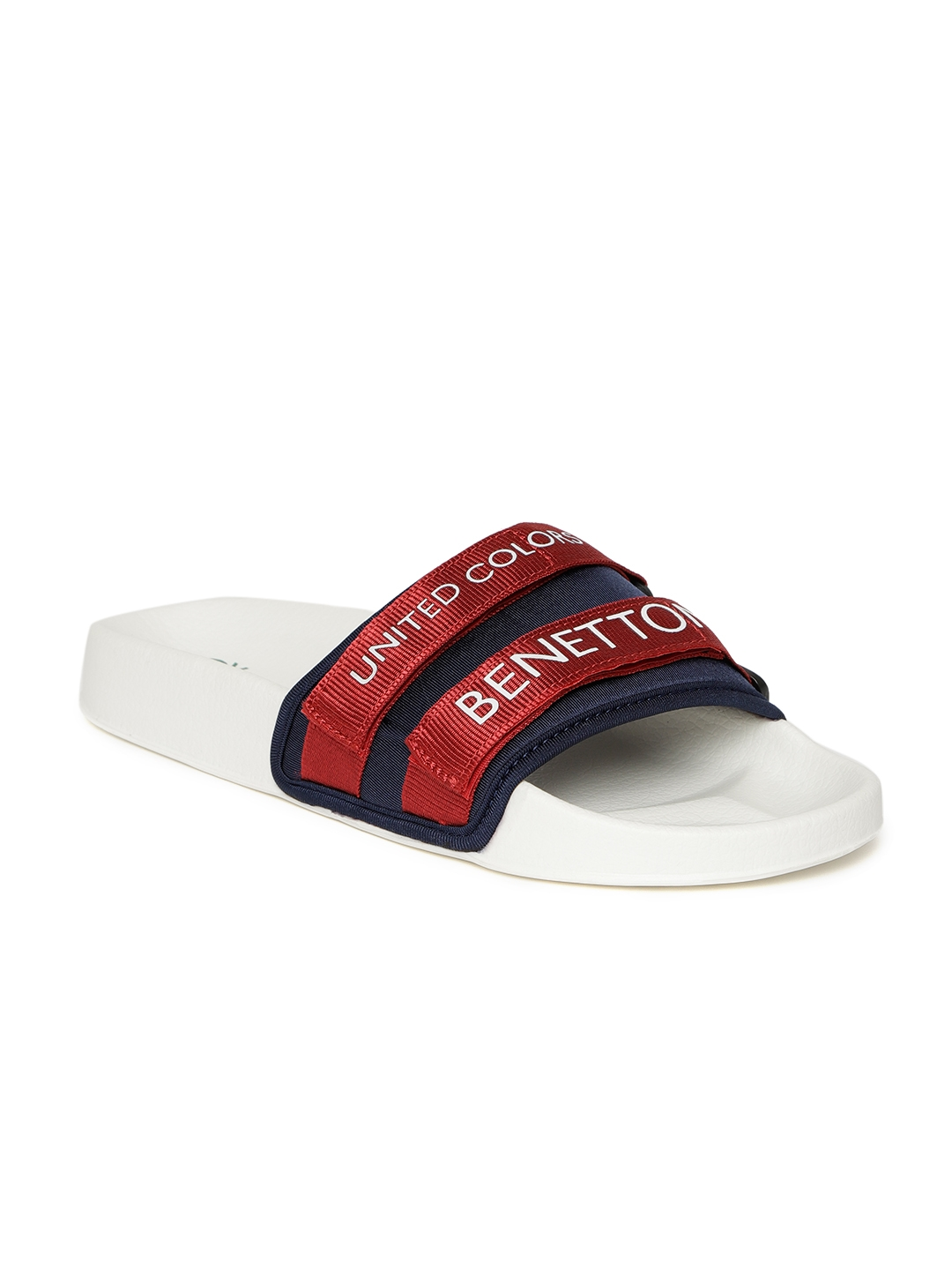 4a4810190de4 Buy United Colors Of Benetton Men Red   Navy Blue Printed Sliders ...