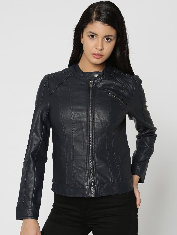 7fb801e8 Buy ONLY Women Navy Blue Solid Biker Jacket - Jackets for Women ...