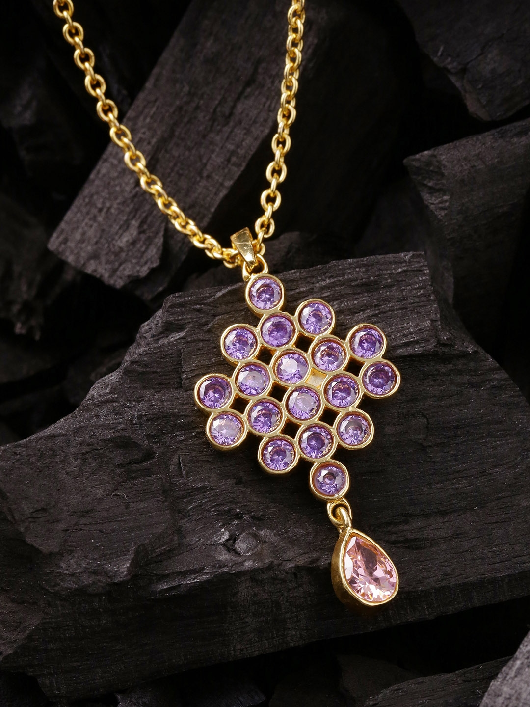 d83000ce55f29 Buy Voylla Gold Toned   Purple Gold Plated Pendant With Chain ...