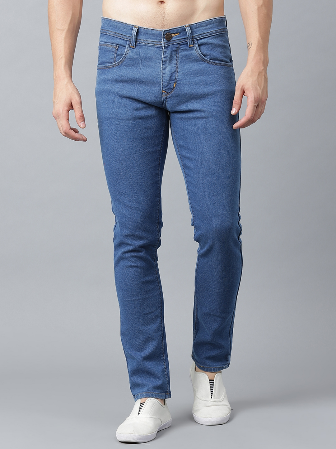 Stylox Men Blue Slim Fit Mid Rise Clean Look Stretchable Jeans