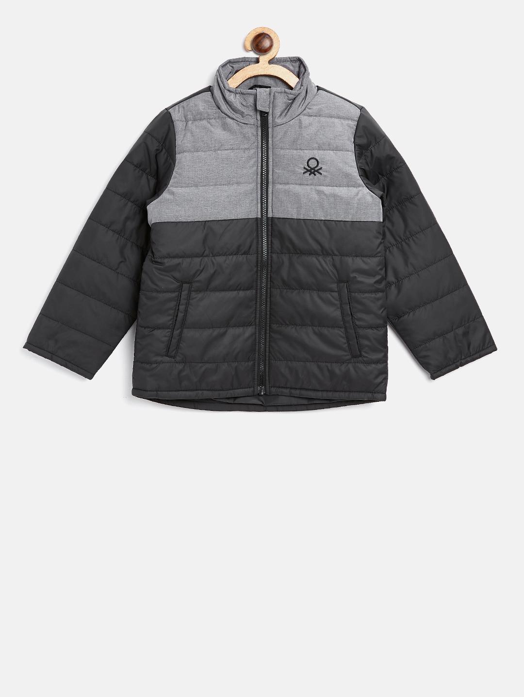 825741ab05 Buy United Colors Of Benetton Boys Black   Grey Colourblocked Padded ...