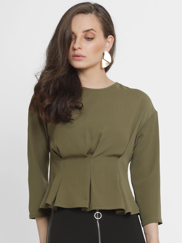 1e049f12f5d8 Buy Kazo Women Olive Green Solid Peplum Top - Tops for Women 7337347 ...