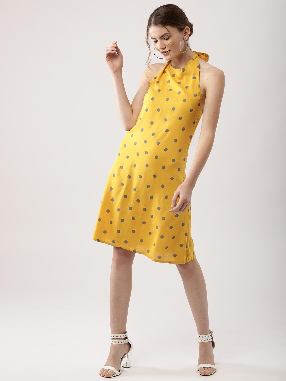 29854f525e3d Buy AKS Couture Women Yellow   Grey Printed A Line Dress - Dresses ...