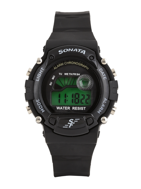 Sonata Men Black Digital Watch NG7982PP03J