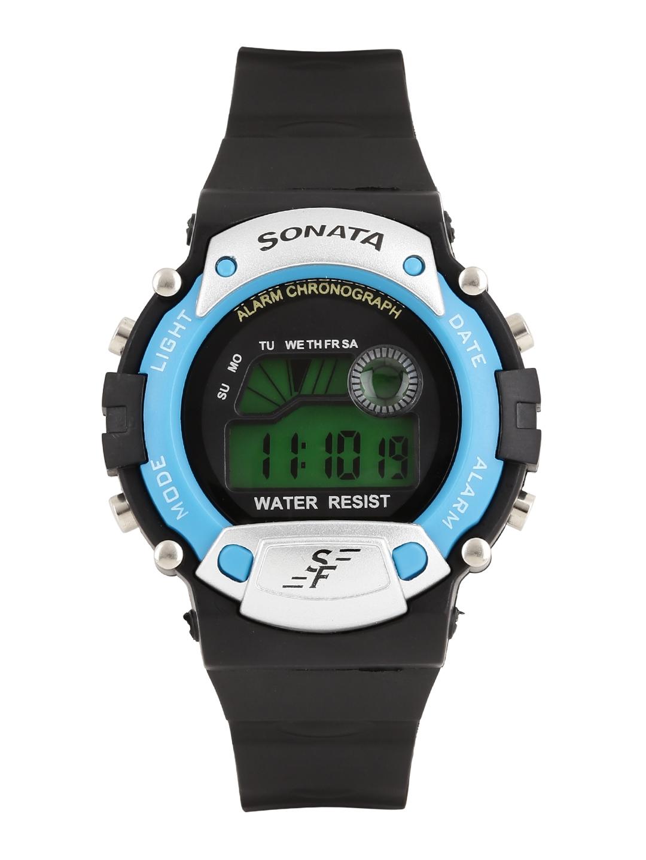 Sonata Men Black Digital Watch NG7982PP04J