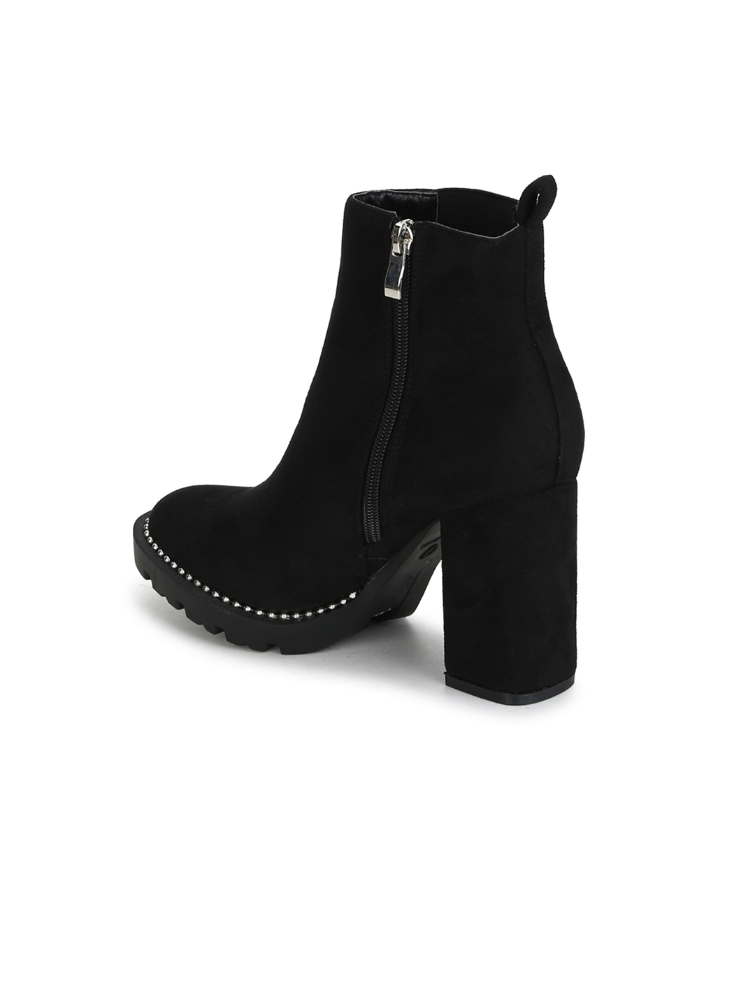 93a74d8d1a8 Buy Truffle Collection Women Black Solid Heeled Boots - Heels for ...