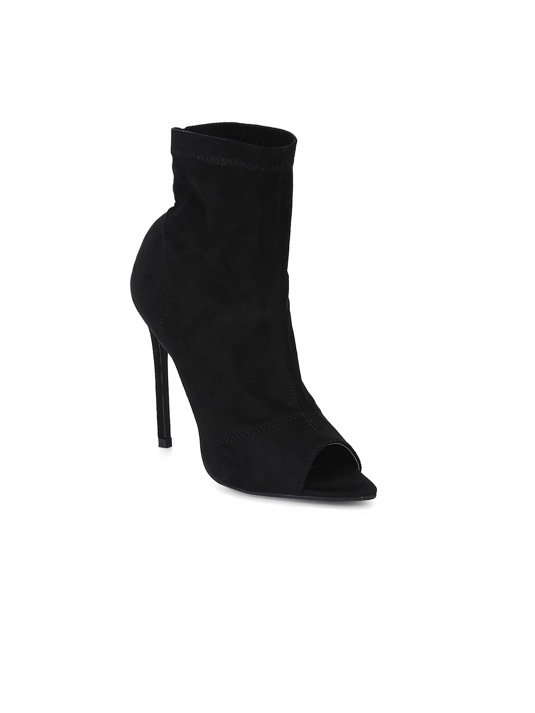 2f0ff1b35e3 Buy Truffle Collection Women Black Solid Heeled Boots - Heels for ...